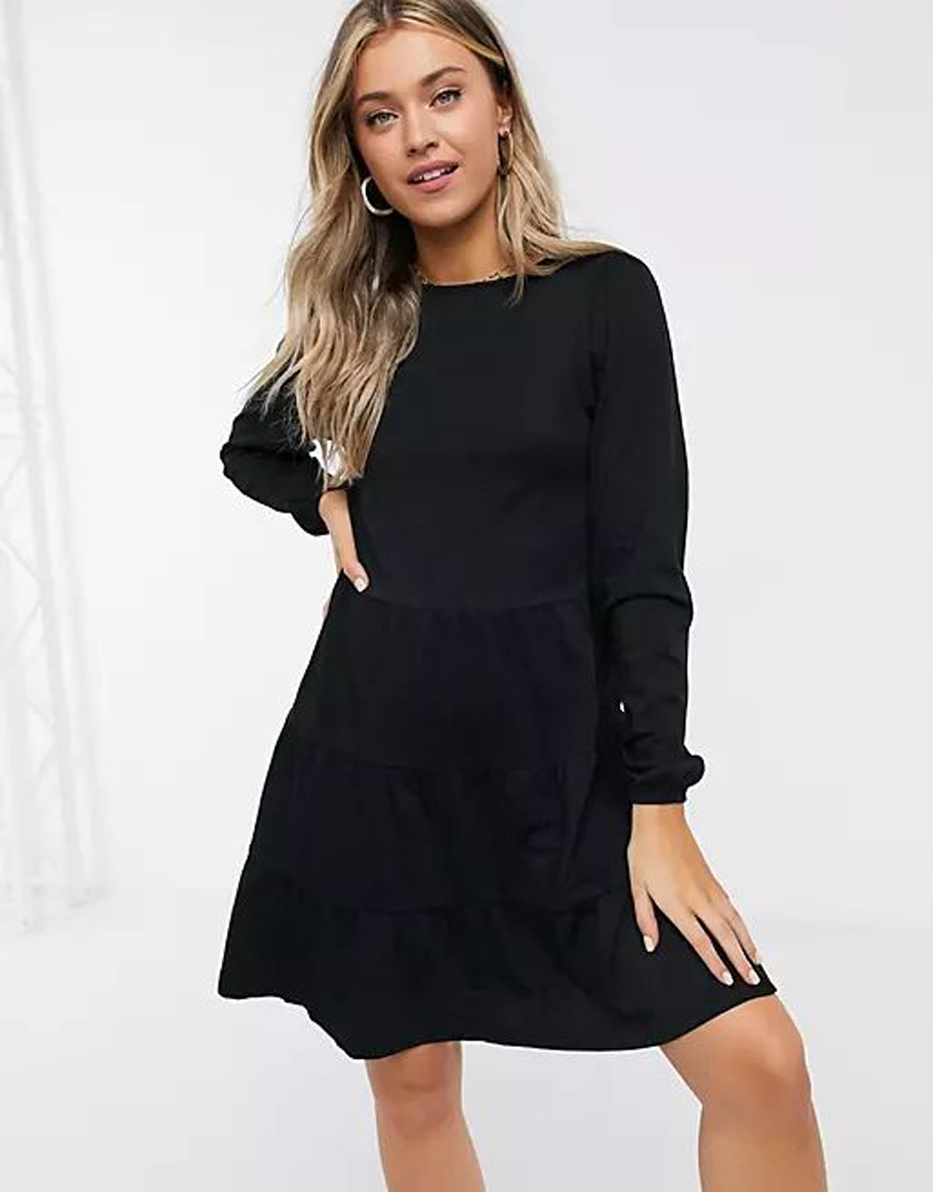ASOS DESIGN smock mini dress with tiered hem with long sleeves in black