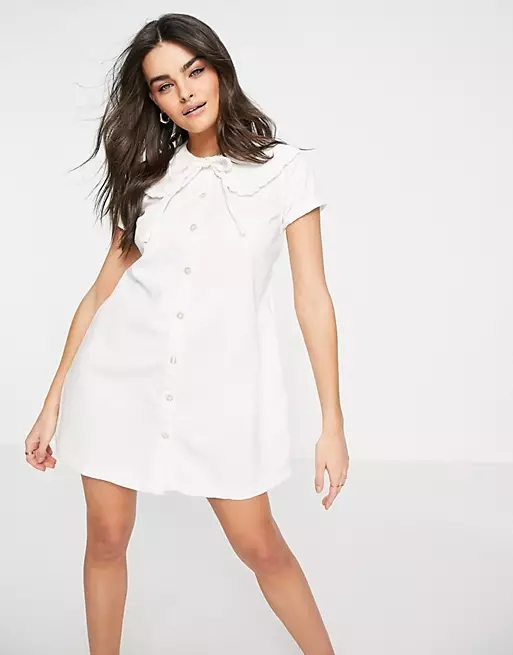 ASOS DESIGN soft denim shirt dress with frill collar in white