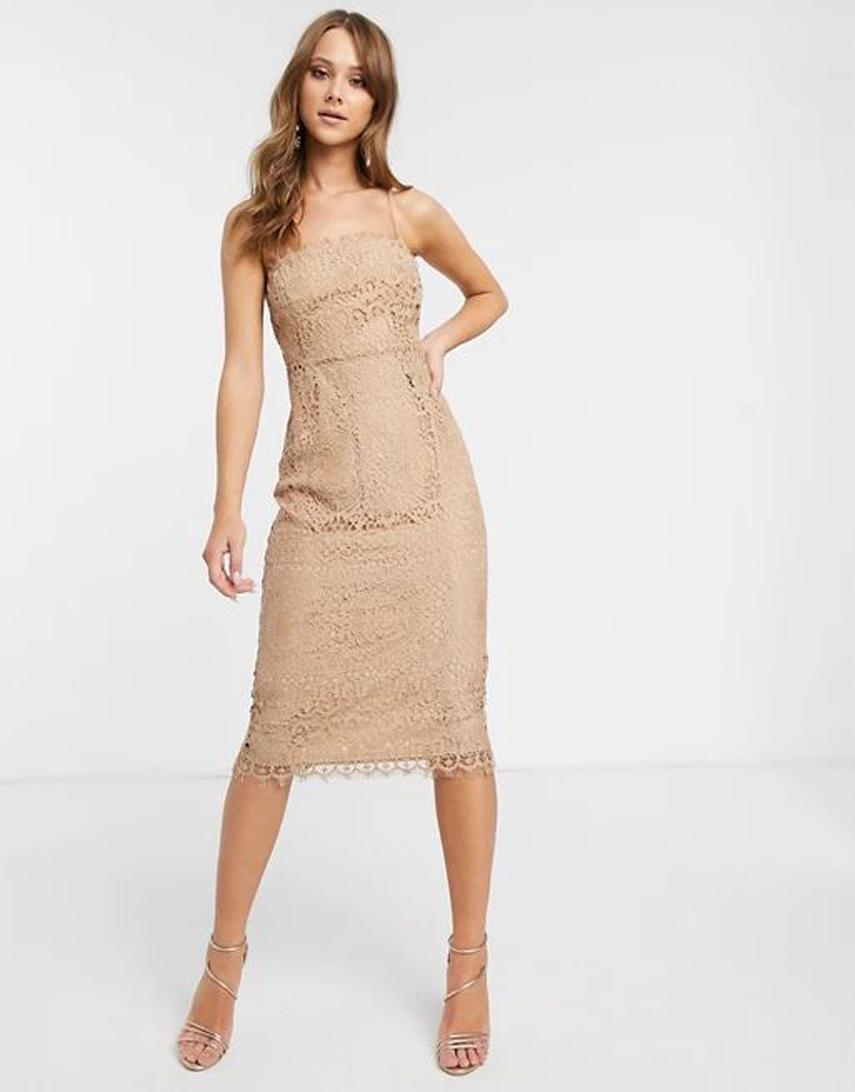 ASOS DESIGN square neck midi pencil dress In lace