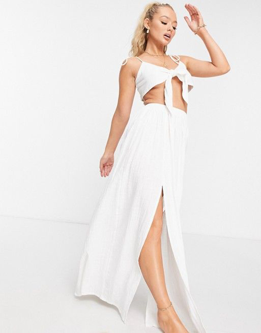 ASOS DESIGN textured split front beach maxi skirt in white