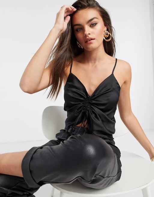 ASOS DESIGN v neck satin cami top with ruched front in black