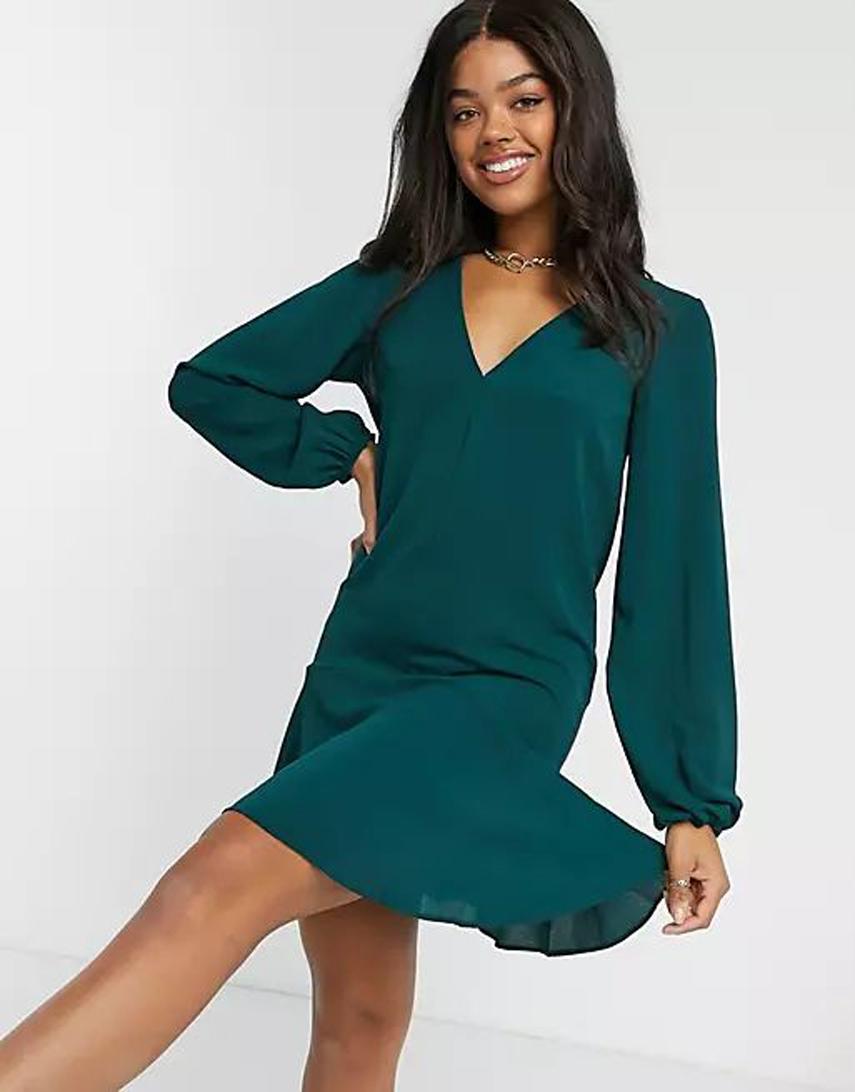 ASOS DESIGN v neck smock mini dress in forest green