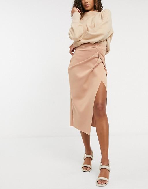 ASOS DESIGN wrapped scuba midi pencil skirt in tan