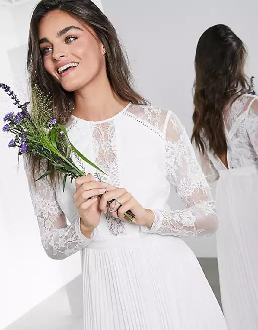ASOS EDITION Iris long sleeve lace bodice maxi wedding dress with pleated skirt