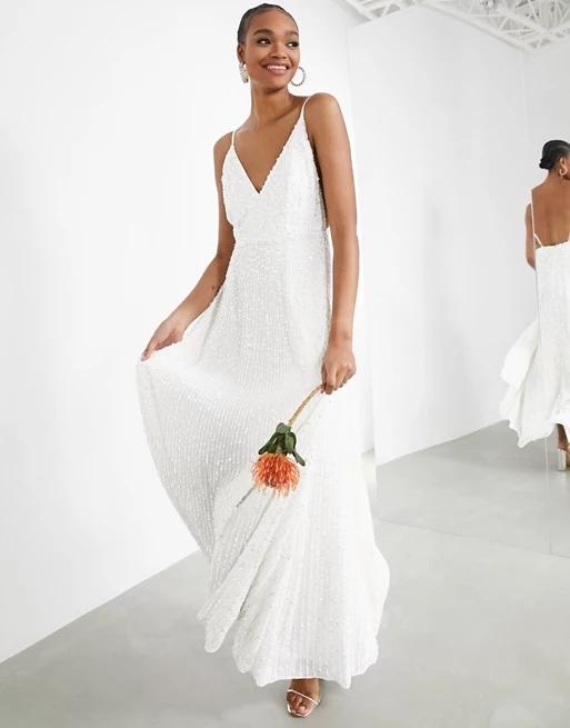 ASOS EDITION Joni sequin cami wedding dress