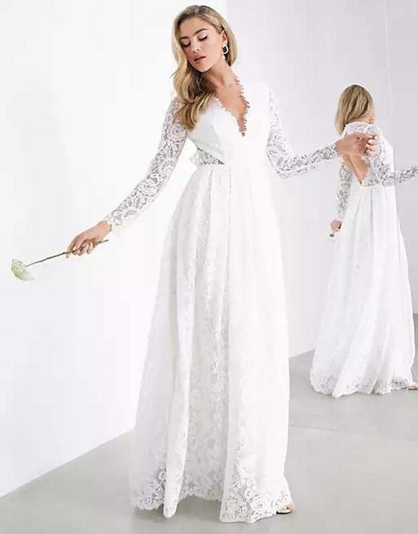 ASOS EDITION Penelope V neck lace wedding dress with open back