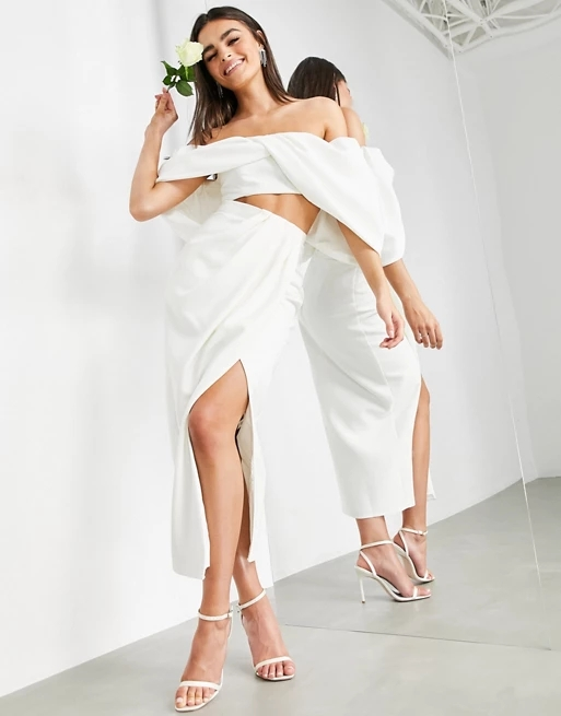 ASOS EDITION drape front bridal skirt