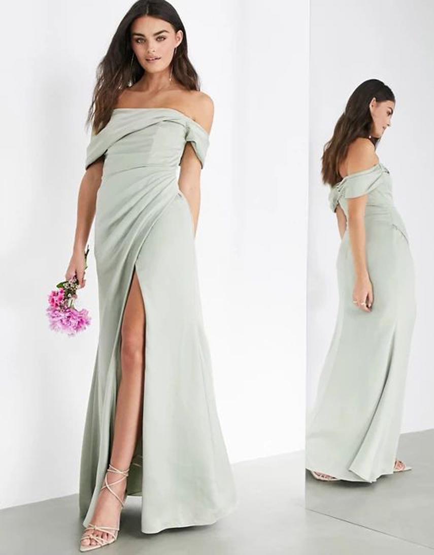 ASOS EDITION satin bardot drape wrap maxi dress in sage green