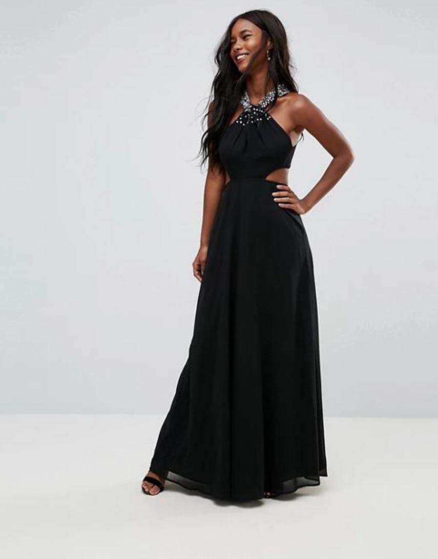 ASOS Side Cut Out Embellished Trim Maxi Dress