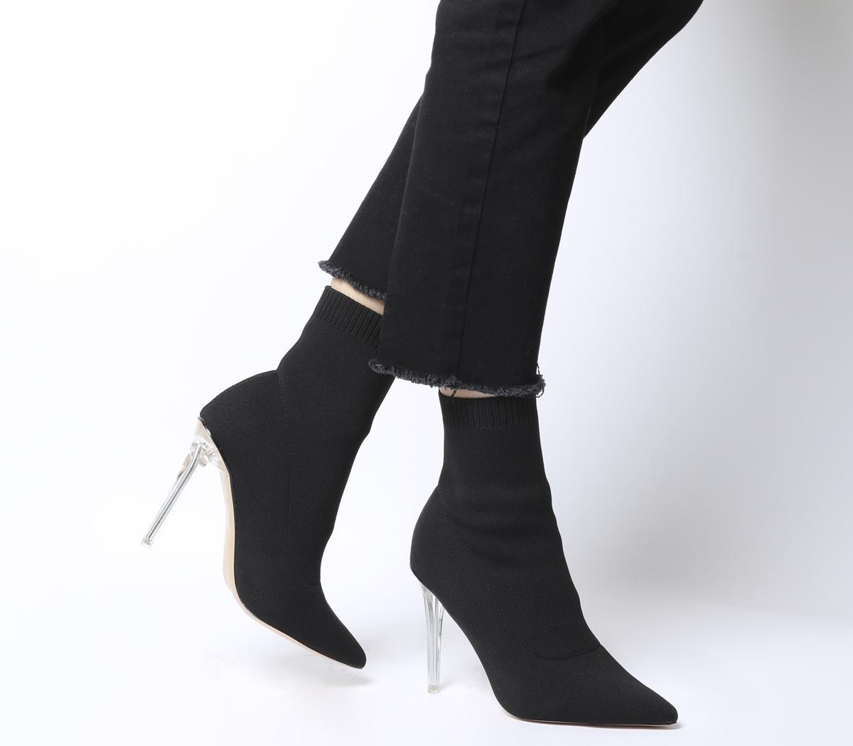 Almighty Fine Point Sock Boots Black With Clear Heel