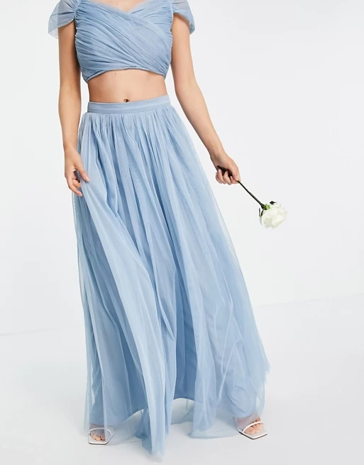 Anaya With Love Petite Bridesmaid tulle maxi skirt co ord in soft blue