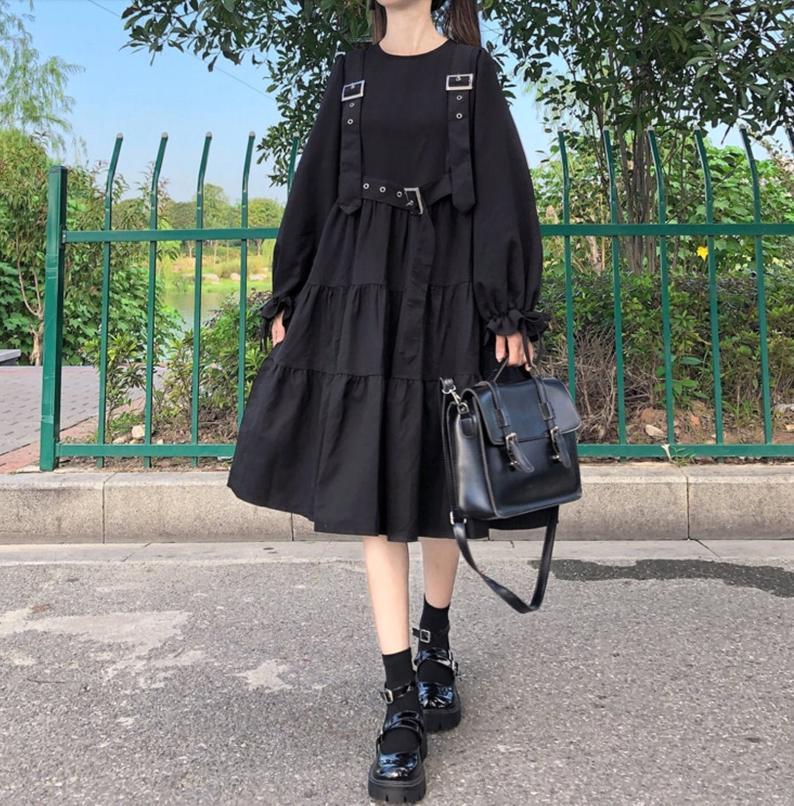 Anime Black Overall Suspenders Dress Gothic Punk Kawaii Harajuku Clothing