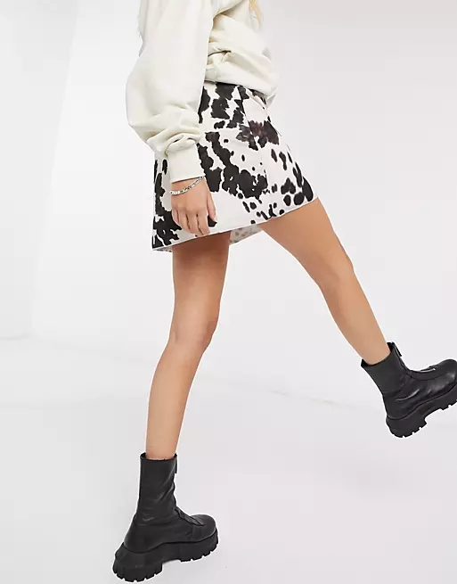 Another Reason a-line mini skirt in cow print