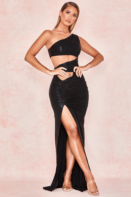 BLACK HIGH SHINE CUT OUT MAXI DRESS