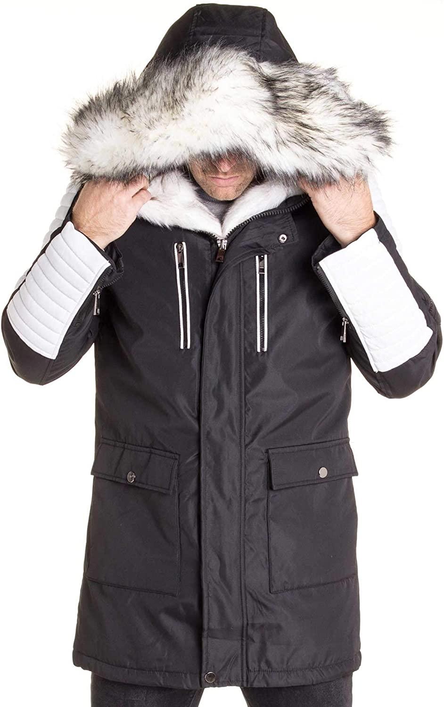 BLZ Jeans - Black Parka with Fake Fur Hood White Speckled