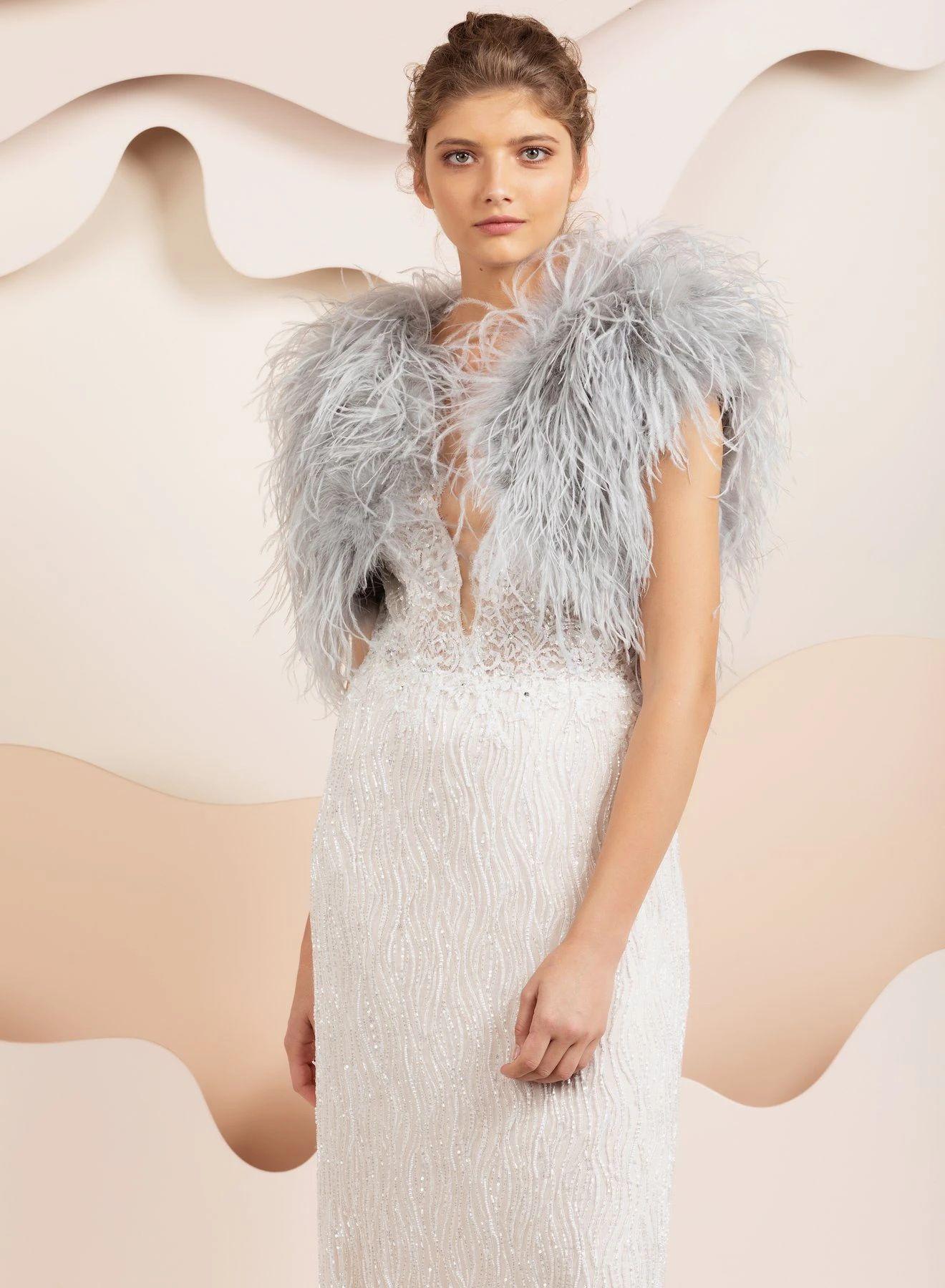 Berlin Bridal Feather Bolero - Light Grey