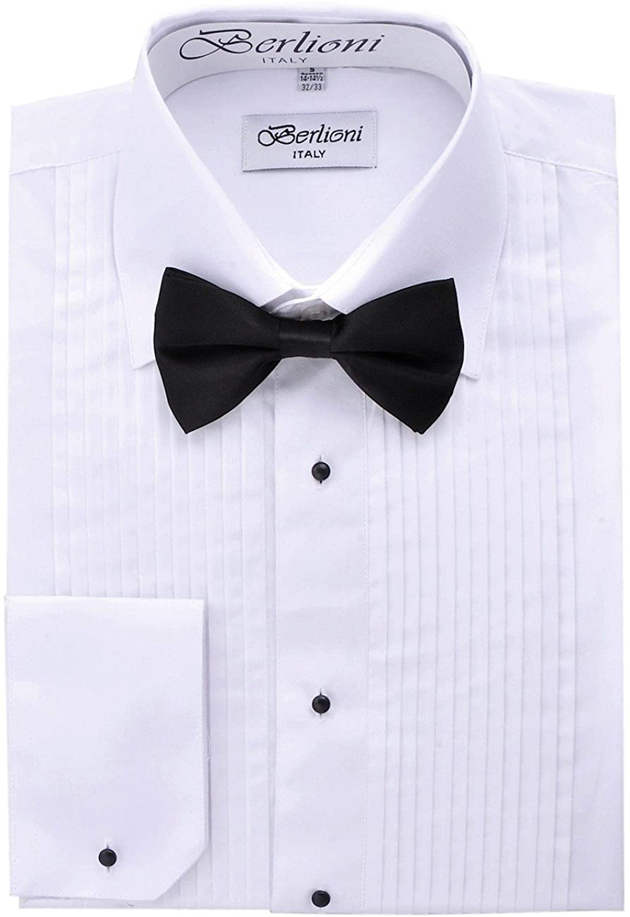 Berlioni Men's Plain Collar Tuxedo Shirt