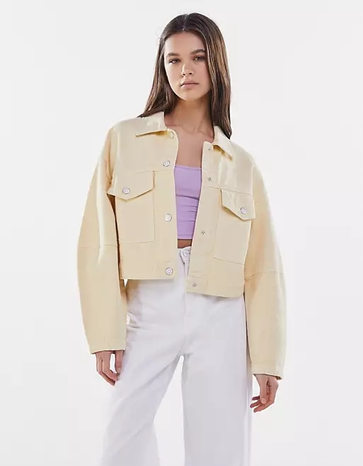 Bershka organic cotton casual jacket in lemon