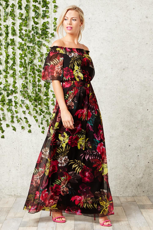 Black Floral Bardot Maxi Dress
