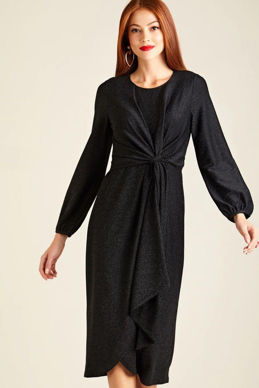 Black Twist Knot Lurex Party Dress