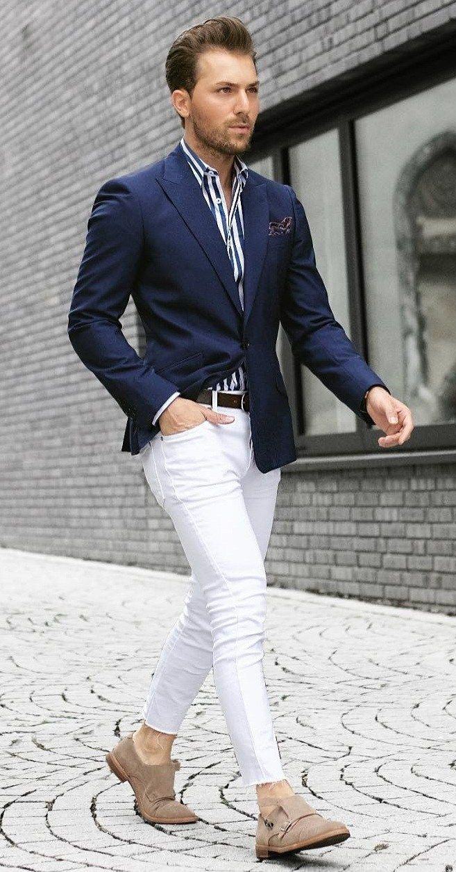 Blazer and Striped Shirt Outfit