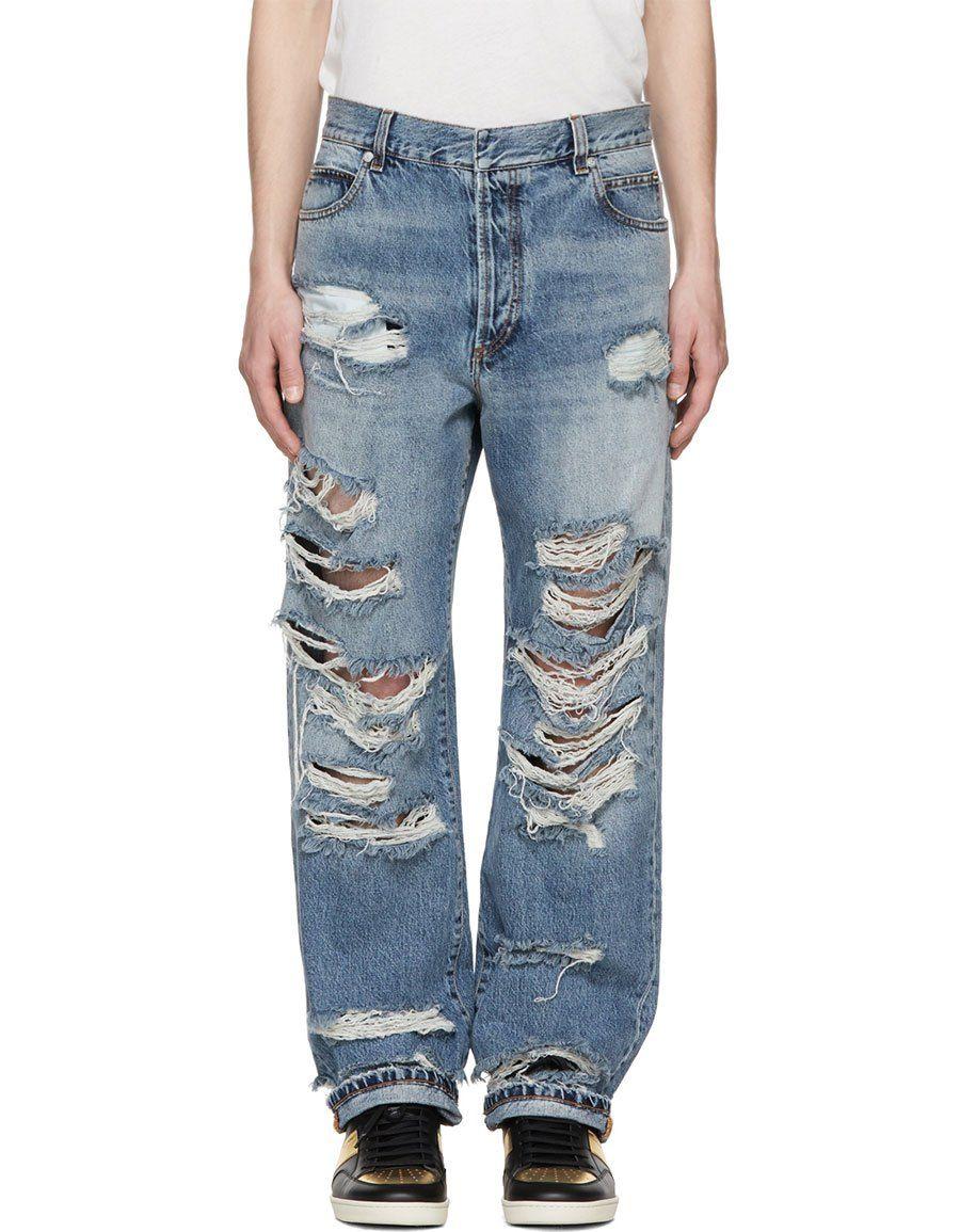 Blue Baggy Destroy Jeans