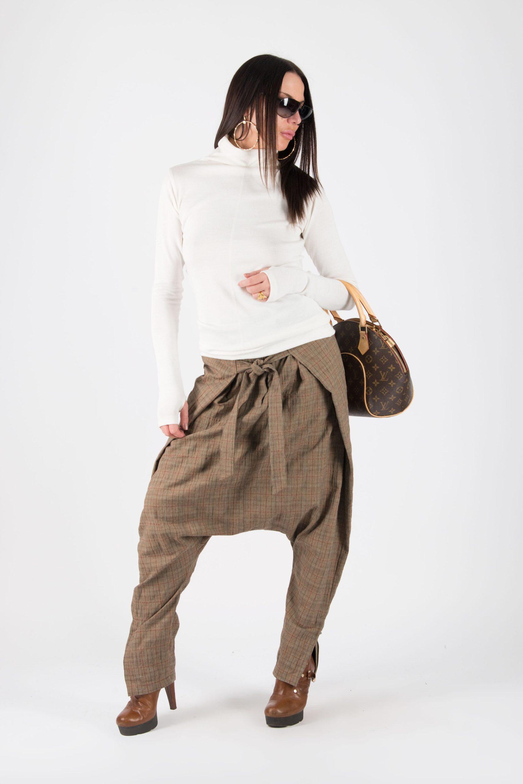 Brown Check Drop Crotch Pants