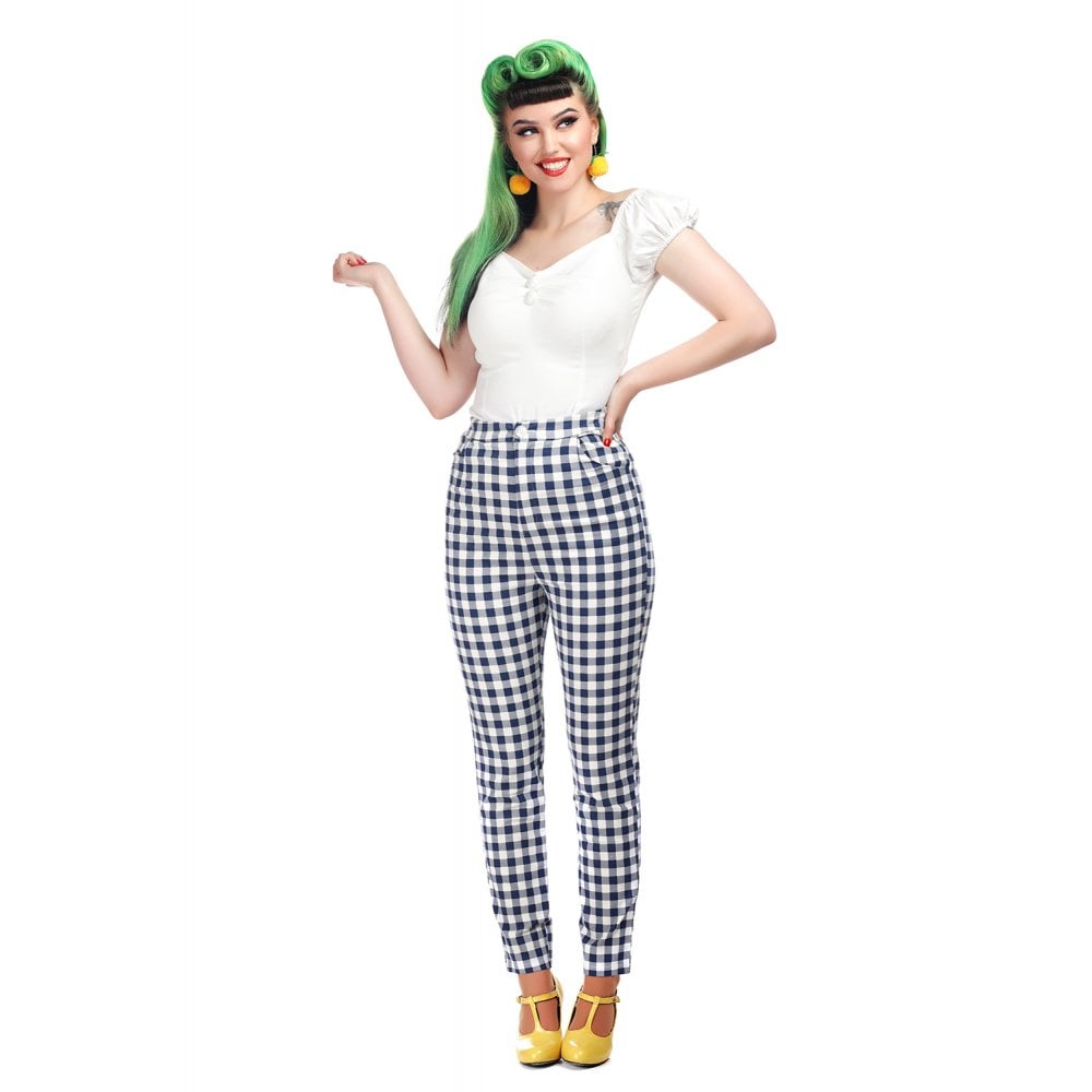 COLLECTIF MAINLINE MARIE GINGHAM TROUSERS