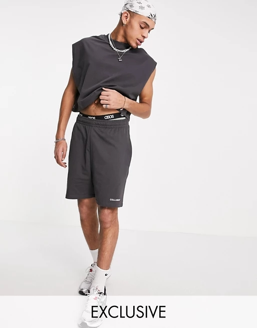 COLLUSION sleeveless crop & jersey shorts in black co ord