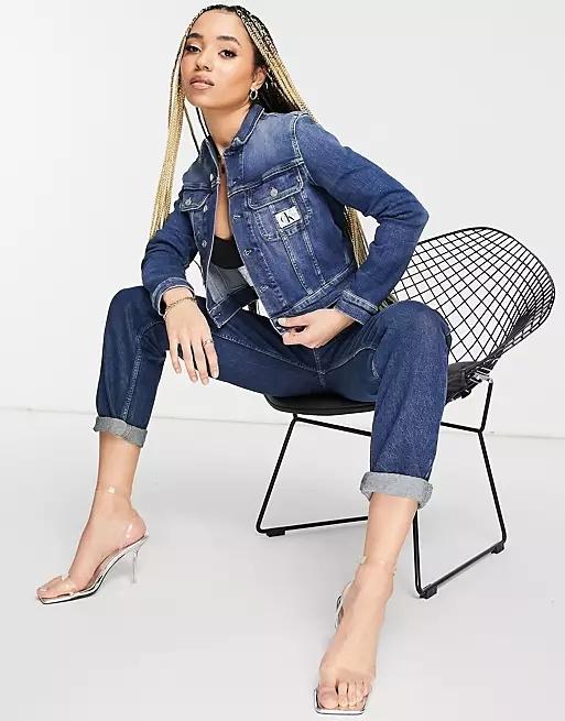 Calvin Klein Jeans cropped 90's denim jacket in dark wash blue