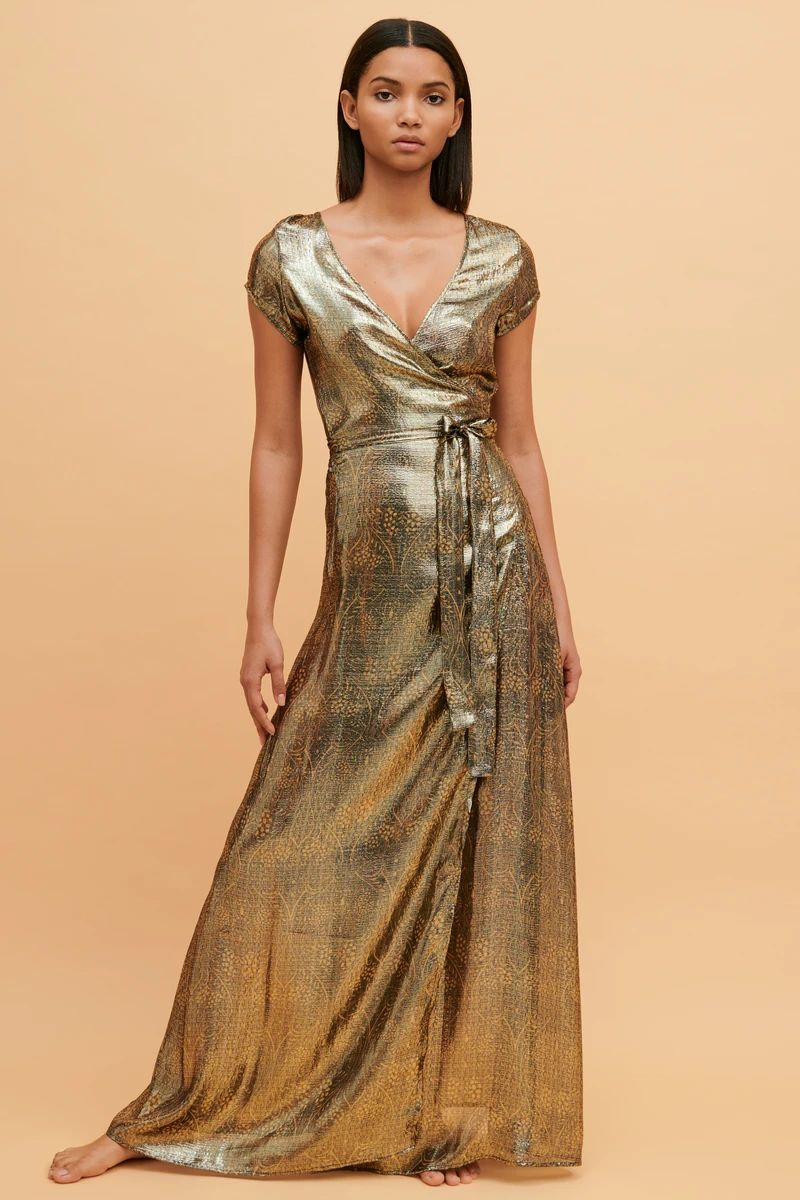 Cassiopeia Silk Maxi Wrap Dress