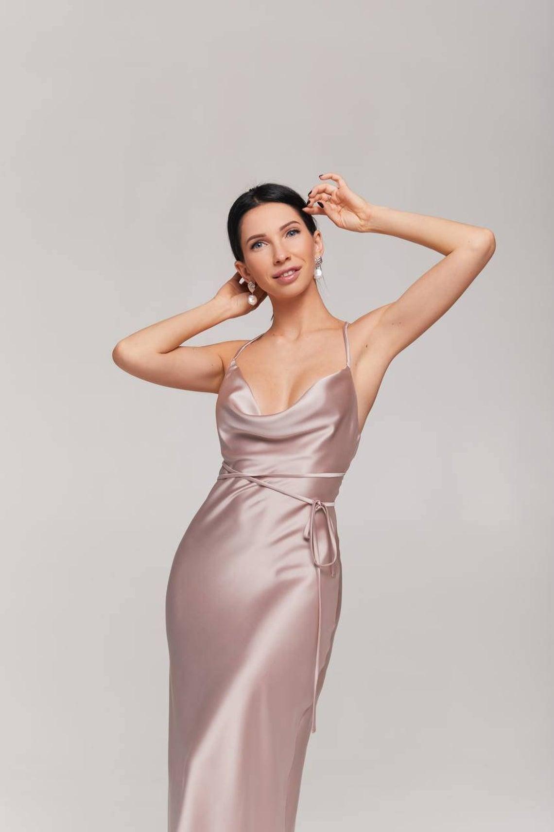 Champagne beige silk satin cowl neck midi slip dress/bridesmaid dress/bias cut midi dress/cami strap midi slip dress/party slip dress