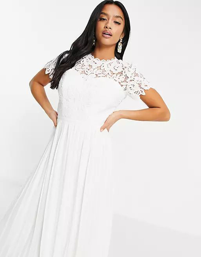 Chi Chi London Petite lace maxi dress with scalloped back in white