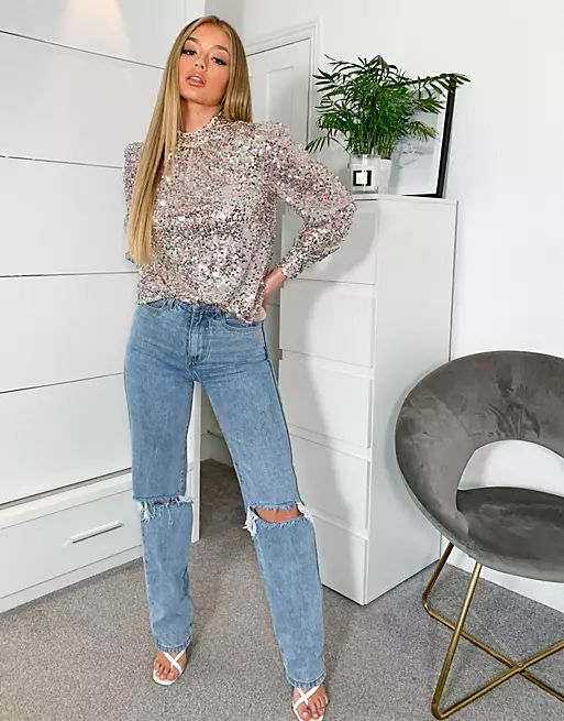 Chi Chi London high neck sequin top in champagne