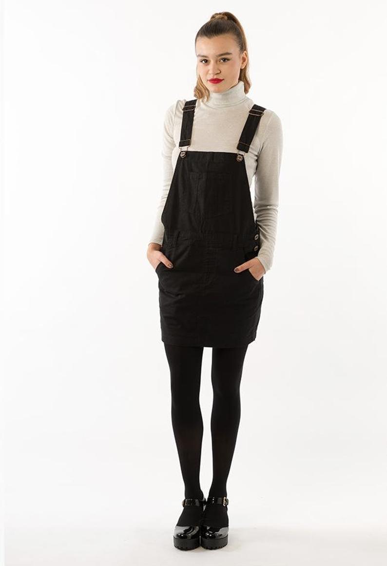 Cicely Womens Oversized Black Denim Dungaree Dress