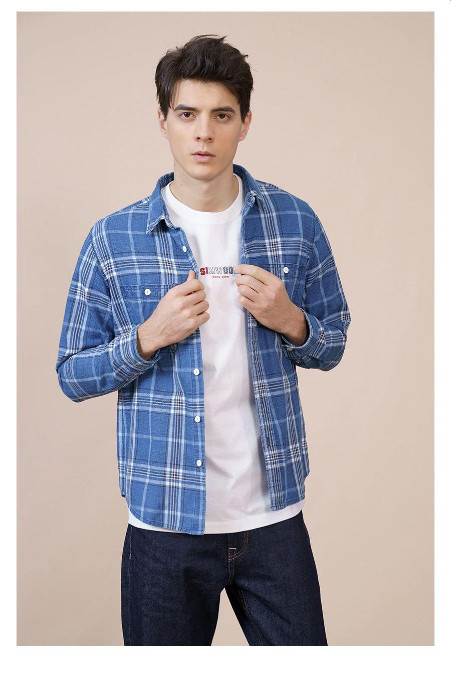 Cotton Denim Check Shirt Plus Size Brand Clothing