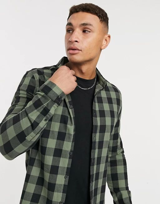 stretch slim buffalo check shirt in khaki