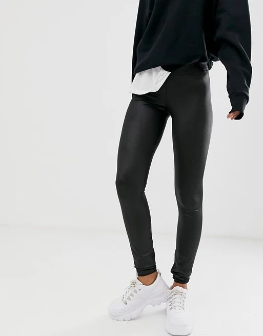 Noisy May Tall faux leather legging