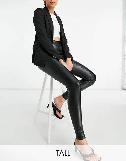 New Look Tall faux leather legging in black
