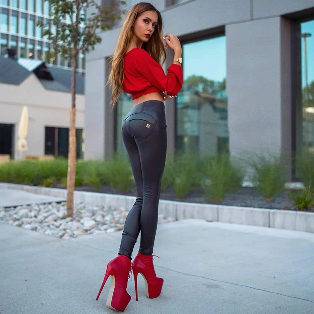 Women High Waist Plain Black Leggings