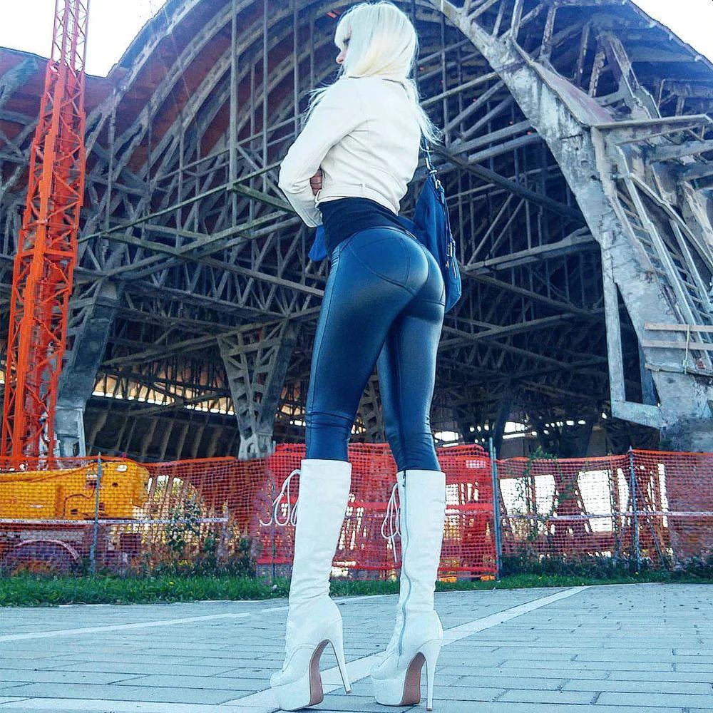 Women's Leather Plus Size Blue Pants Sexy Stretch Fit Elegant Trousers Streatwear Riding Leggings