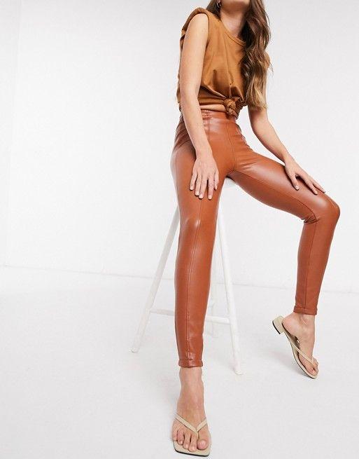 New Look leather look leggings in rust