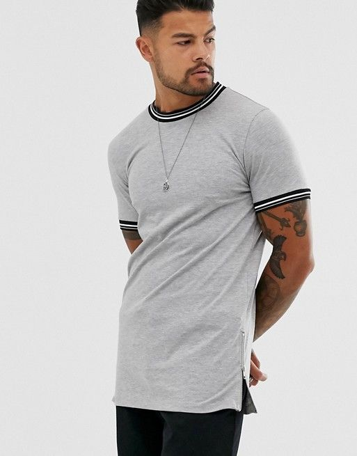 skinny longline t-shirt with tipping and side zips in grey marl