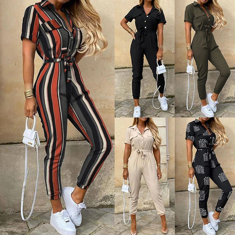 Casual Short Sleeve Rompers Womens Jumpsuit