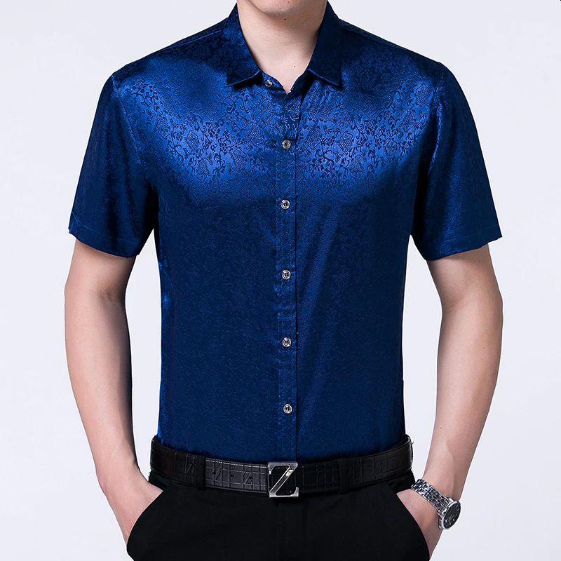 Blue Silk Satin Dress Shirt Men Stylish Floral Print