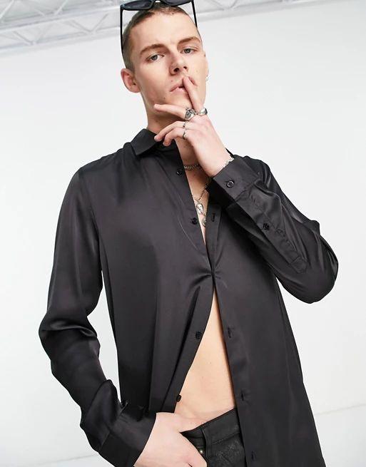 longline satin shirt in black