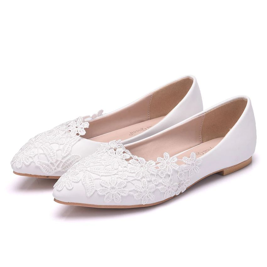 Ballet Flats White Lace Wedding Shoes