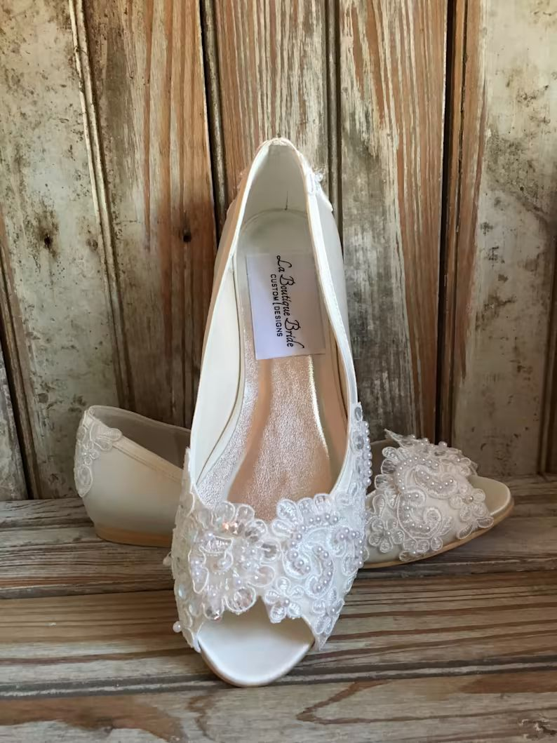 Open Toe Pump Custom Beaded Hand Made Pearl Crystal Lace Detail Flat Wedding Shoe Ballet