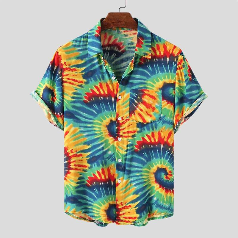 Men Hawaiian Shirt Tie Dye Printed Short Sleeve