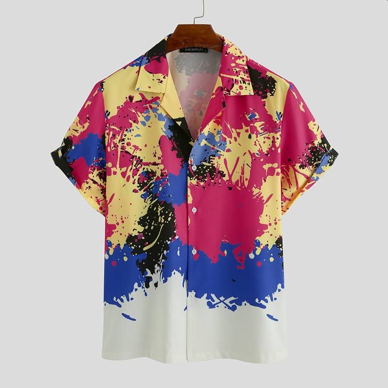Men Hawaiian Shirt Tie Dye Print Short Sleeve